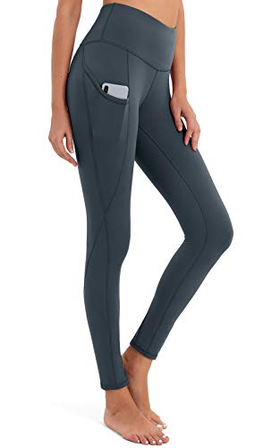 BROMEN Women's High Waisted Yoga Pants with Pockets Leggings for Women Buttery Soft Workout Compression Pants Tummy Control Grey M