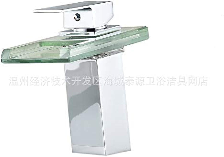Floungey BadinsGrößetionen Waschtischarmaturen Küchenarmaturen Kupfer Led Temperaturregelung Licht Wasserhahn Becken Bad Kabinett Glas Wasserfall Heien Und Kalten Wasserhahn