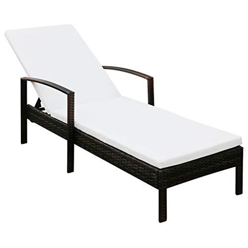 vidaXL Chaise Longue avec Coussin Transat de Patio Bain de Soleil de Jardin Chaise Longue d'Extérieur Terrasse Plage Résine Tressée