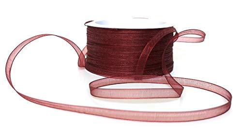 Unbekannt Organza/Chiffon SCHLEIFENBAND 50m x 6mm Weinrot - Bordeaux Organzaband Geschenkband DEKOBAND Hochzeit Antennenband [3133-124]
