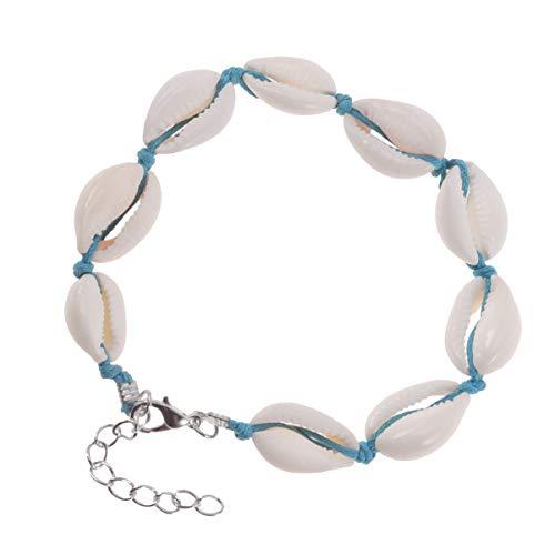 Amosfun Shell Armband Ocean Seashell Tropische Enkel Geweven Knoop Conch Enkel Armband Valentijnsdag Sieraden voor Strand Bruiloft Feestvakantie Zwart