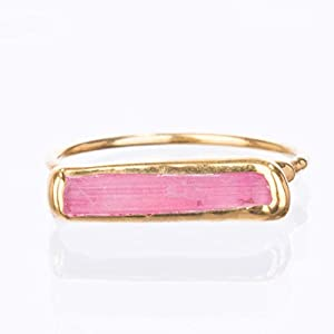 Dainty Minimalist Pink Tourmaline Bar Ring