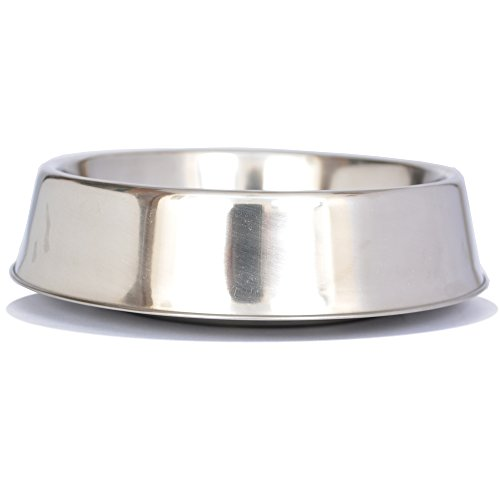 Iconic Pet 16 oz/ 2 Cup Anti Ant Stainless Steel Non Skid Pet Food/Water Bowl - Noise Free Ant Resistant Dog/Cat Feeding Bowl with Unique Design & Rubber Base Makes It an Elegant Ant Proof Dish