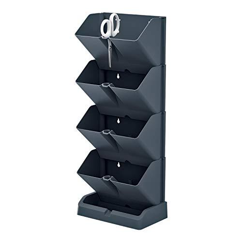 Prosperplast Macetero Vertical Mini Cascade de plástico en Color Antracita 19,5 (Largo) x 11,4 (Ancho) x 47,5 (Alto) cm con Tijeras de Jardin, Negro, Unitario