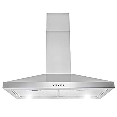 """AKDY 30"""" 217 CFM Convertible Wall Mount Range Hood in Stainless Steel with LEDs Push Control and Carbon Filters"""