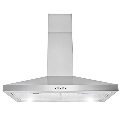 AKDY 30' 217 CFM Convertible Wall Mount Range Hood in Stainless Steel with LEDs Push Control and Carbon Filters