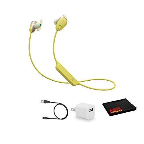Sony WI-SP600N Wireless Bluetooth Noise-Canceling in-Ear Sports Headphones - Yellow - Kit with USB Adapter