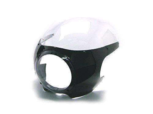 Negro Universal Moto Carenado Faro Delantero Cubierta con Transparente Pantalla/Parabrisas Ideal para Clásico Café Corredor