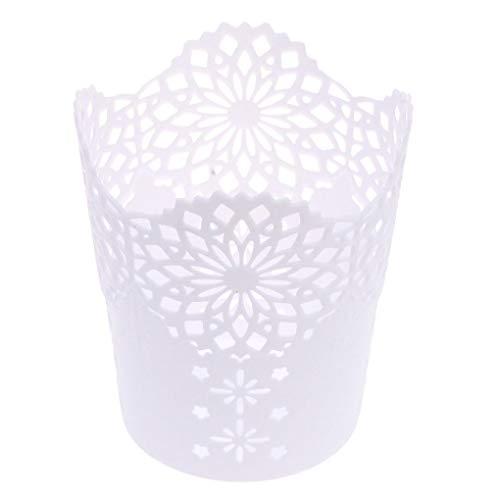 Vokmon Multifunktionale Hohle Blumen-Feder-Pot-Verfassungs-Kosmetik-Bürstenhalter Desktop-Müll-Speicher-Korb