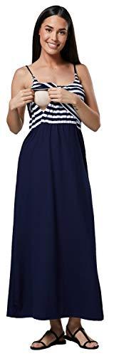HAPPY MAMA Damen Mutterschaft Muster Empire-Taille Riemen Langes Kleid 009p (Marine Streifen & Marine, EU 36/38, S)