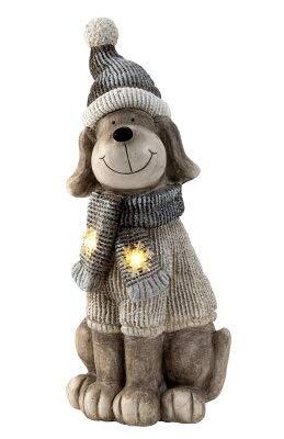 Winterfigur Hund mit Mütze und Schal 61 cm groß Wintergartendeko Dekohund Weihnachtsdeko Dekofigur Hund Gartendeko für Weihnachten