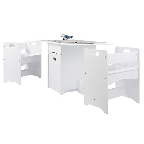 eSituro SCTS0007 Kindersitzgruppe 1 Kindertisch und 2 Sitzbänke Set, Kinderschreibtisch mit 1 Bewegbare Spielzeugkiste, Kindermöbel für Kinder Kindersitzgarnitur Weiß