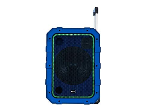 "Gemini MPA-2400BLU 10"" Rechargeable Weather-Resistant Trolley Speaker with Bluetooth, LED Light Show, 6 DSP Modes, Microphone and Guitar Inputs, 240W Peak Power, FM Radio, Blue"