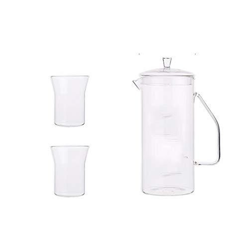 Tetera dispensadora de agua y bebidas, resistente al calor, de borosilicato frío, tetera de cristal con asa familiar, 1400 ml, para bebidas frías o calientes