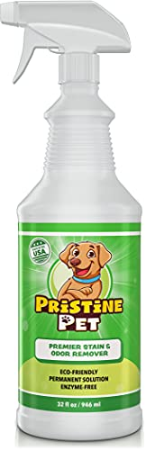 Pristine Pet Odor & Stain Eliminator for Home, Eco-Friendly Pet Carpet Cleaner Removes Odors & Prevents Dog Urine Marking, Enzyme-Free 32 Ounce Spray Bottle