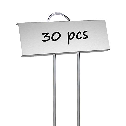 STARTOSTAR - Confezione da 30 Etichette per Piante in Metallo, Resistenti alle intemperie, Altezza 10,6', Area Etichetta 3,5 x 1,2 cm, riutilizzabili per Verdure, Erbe, Fiori e Serre, in Zinco