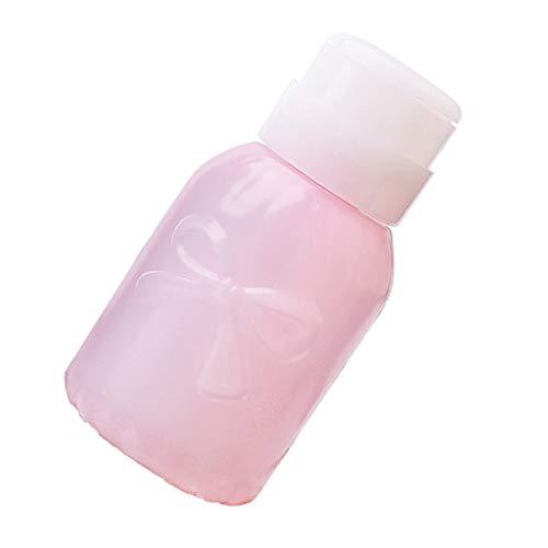 Fenteer 220ml Distributeur De Dissolvant de Pompe à Vernis à Ongles Contenant Vide Bouteille en Plastique Portable pour Voyage - Rond rose