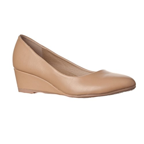 Riverberry Women's Alice Low-Height Round Toe Wedge Pumps, Taupe PU, 7.5
