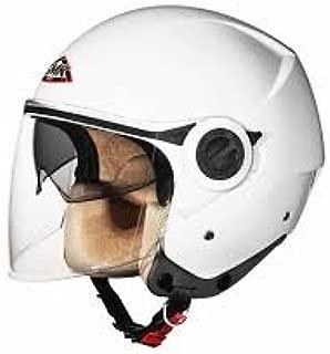 SMK Cooper Open Face Duel Visor Designer Helmet , COOPER WHITE GL100 , Glossy White , S - 55 Cms , Plain Visor