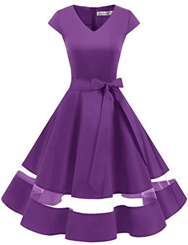 Gardenwed Vestido de Fiesta de cóctel Rockabilly de 1950 para Mujer Vestido Retro de Columpio Vintage con Cuello en V y Manga Purple-2XL