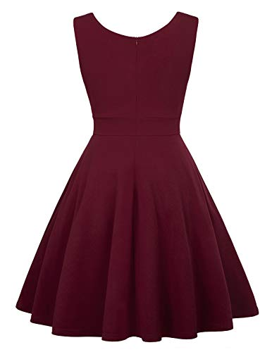 GRACE KARIN Retro Kleid a Linie v Ausschnitt Kleid Damen 50s Kleid a Linie trägerkleider Fashion Kleid CL698-2 S