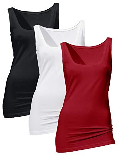 H HIAMIGOS 3er Pack Damen Unterhemden Lange Tanks Basic Cotton Trägertop Essentials Ärmellos Feinripp Tank Top aus Baumwoll-Stretch(Dunkelrot+Weiß+Schwarz, L)