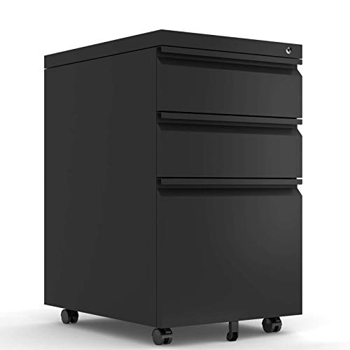 HOMEER 3 Drawer Mobile File Cabinet with Lock and Wheel White Cabinet Office File Cabinets(Black)