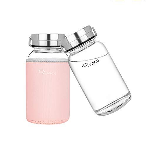 Ryaco Botella de Agua Cristal 800 ML, Boca Ancha Botella de Agua Reutilizable, Sin BPA Antideslizante Protección Neopreno Llevar Manga y Cepillo de Esponja (800ml, Rosa)