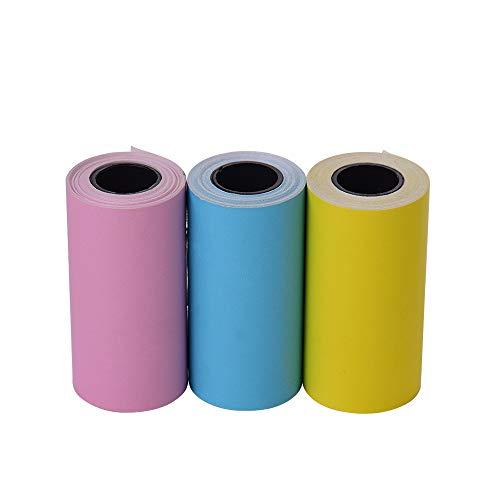 Leslaur Etiqueta adhesiva de color imprimible Rollo de papel Papel térmico directo con autoadhesivo 57 * 30 mm (2.17 * 1.18in) para la Impresora térmica de bolsillo PeriPage A6 para la mini impresora