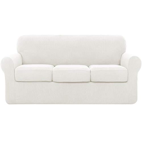 subrtex Sofabezug mit 3 Separatem Sitzkissenbezug Stretch Sofahusse Couchbezug Elastischer Stretchhusse für Sofa (3 Sitzer, Creme)