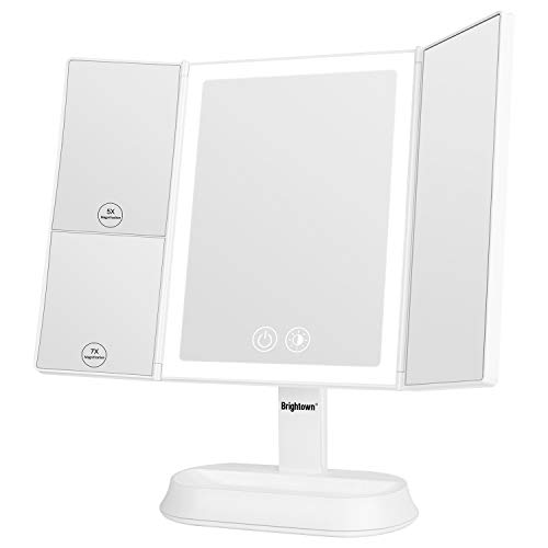Trifold Vanity Mirror with Lights - 3 Color Lighting Modes 60 LED, 1x/5x/7x Magnification, Touch Screen Makeup Mirror, 90° Adjustable Rotation, Dual Power Supply
