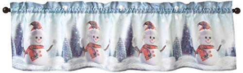 """Violet Linen Christmas Snowed Man, Polyester, Super Soft Feel Faux Suede Fabric, Digital Print Decorative Window Rod Pocket Curtain Valance, 60"""" X 18"""", Snowman with Red Hat Design"""