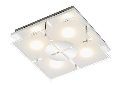 Briloner Leuchten Deckenleuchte, Deckenlampe, Deckenstrahler, 4 x LED GU10, 3 Watt, 250 Lumen, Glas teilmattiert, eckig, Chrom, Metall W, 30 x 30 x 9 cm