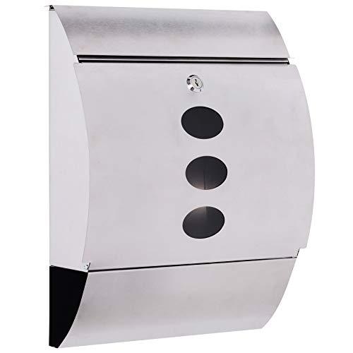 HOMCOM Buzon Correos Postal 31x11.5x41cm Acero Inoxidable + 2 Llaves Compartimento Periodico Correspondencia