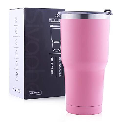 Mosako - Taza de viaje de acero inoxidable con tapa de doble pared vacía para camping, senderismo (850 ml), color rosa