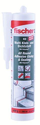 fischer KD Multi Kleb- und Dichtstoff, wasserfester Montagekleber für elastische Verklebungen, MS-Polymer für viele Anwendungen und Untergründe, 290 ml, weiß