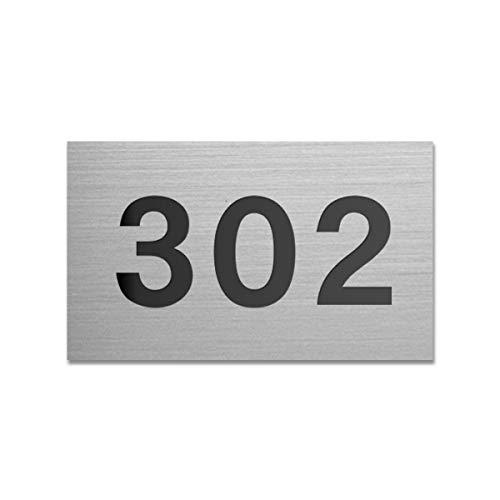表札 【大量注文承ります】 6.5cm×4.0cm ロッカー ポスト ホテル ドア アパート マンション プレート 部屋番号 選べるカラー 選べるデザイン ゆうパケット1 (ステンレス調×黒文字/デザインA/両面テープ付)