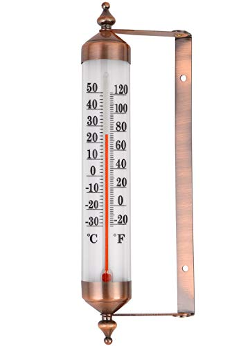 MIKSUS 10' Premium Steel Decorative Wall Thermometer Indoor Outdoor (Upgraded Accuracy and Design)