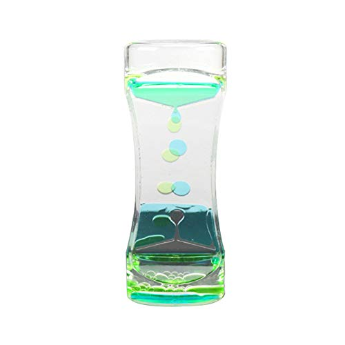 junshi11 Timer Clock Drip Oil Hourglass Relaxing Liquid Motion Bubble Movement Soothing drip Kids Toy Desk Decor, Best Sensory Toy Kids Gift Blue Green