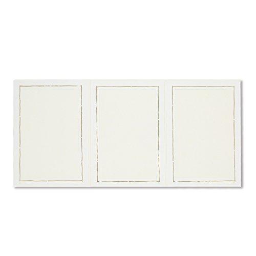 10 Stück weiße 3er- Leporellos mit Goldrand für Bildformat 13 x 18 cm, Foto - Portraitmappe, Innenausschnitt 11,5 x 16,5 cm, Passepartout, Leporello, Fotomappe