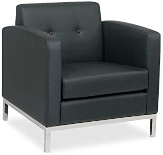 AVE SIX Wall Street Faux Leather Armchair with Chrome Finish Base, Black