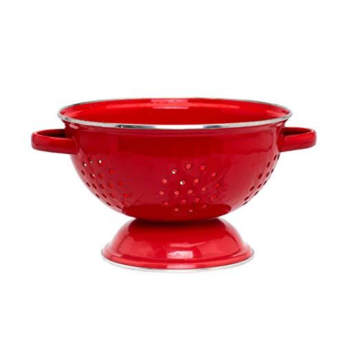 durkslag matsil, fruktkorg emalj retro design, tvättfat kreativ för sallad frukt grönsak ris, köksredskap gåva (röd)