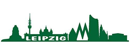 Samunshi® Leipzig Skyline Aufkleber Leipzig Sticker in 9 Größen und 25 Farben (40x8,9cm grasgrün)