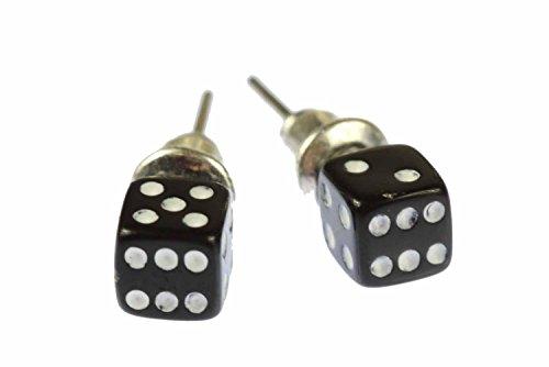 Miniblings Würfel Spiel Kasino Ohrstecker Spielen 3D 5mm schwarz - Handmade Modeschmuck I Ohrringe Stecker Ohrschmuck