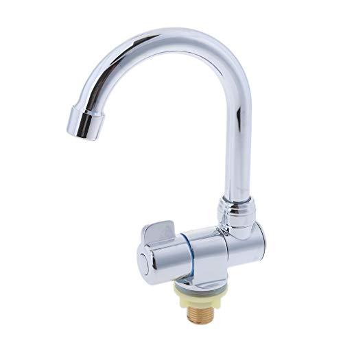 B Blesiya - Grifo para lavabo de cocina con rotación de 360 grados, un solo agujero, agua fría, # 006