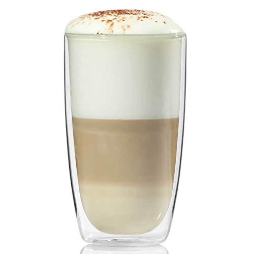 Dimono Doppelwandiges Trinkglas 450ml Wasserglas Glas doppelwandig Latte Macchiato Longdrink-Gläser