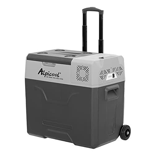 Alpicool CX50 - Nevera portátil de 50 litros, 12V, para coche, camping, camión, barco y enchufe con conexión USB, barra telescópica, rueda
