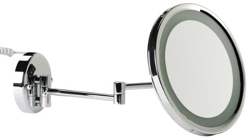 VELMA - AROUND - LED110 5x - Wunderschöner beleuchteter Kosmetikspiegel mit neuester LED Technik + weißen LED-Dioden - 5-Fach Vergrößerung - In alle Richtungen verstellbar - Komplett an die Wand klappbar - Hochglanz verchromtes Messing - Premium-Qualität !