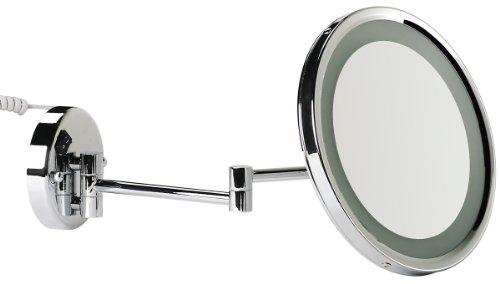 VELMA - AROUND - LED110 5x - Wunderschöner beleuchteter Kosmetikspiegel mit neuester LED Technik + weißen LED-Dioden - 5-Fach Vergrößerung - In alle Richtungen verstellbar - Komplett an die Wand klappbar - Hochglanz verchromtes Messing - Premium-Qual