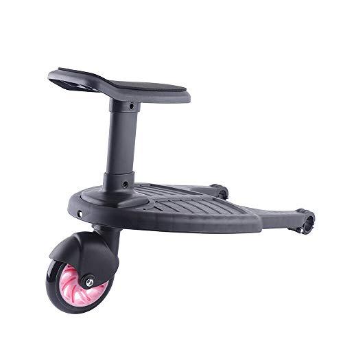 Mini Buggy Board con asiento – Buggy Board Cochecito de paseo – Plataforma con ruedas con asiento para cochecito, sillita de paseo o tabla infantil, desmontable y montaje (rosa)